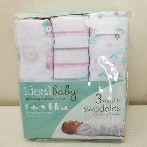 Ideal Baby 3 Muslin Swaddle Blanket Owl Aden Anais